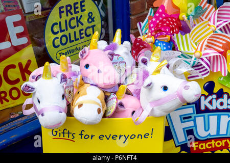 Childrens Unicorn hobby horse toys - Stock Photo
