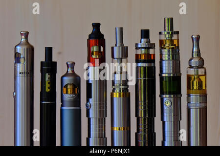 A set of different tube ecigarette devices for eletronic smoking or vaping with eliquid - Stock Photo