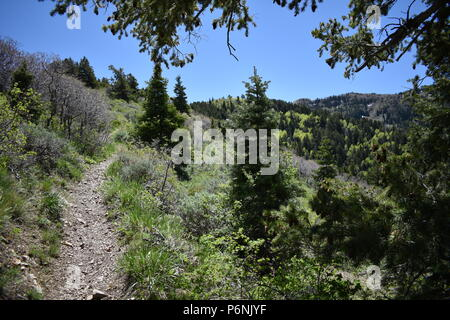 Hiking path views of the Oquirrh Mountains along the Wasatch Front Rocky Mountains, by Kennecott Rio Tinto Copper mine, Tooele and the Great Salt Lake - Stock Photo