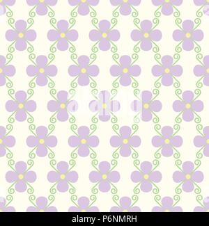 Violet blossom and spiral seamless pattern on pastel background. Sweet bloom for vintage or modern design. - Stock Photo