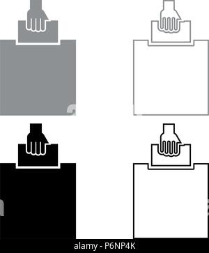 Hand puts a blank in a box for suggestion the voter throws a ticket icon set grey black color I flat style simple image - Stock Photo