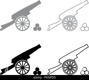 Medieval cannon firing cores icon set grey black color I flat style simple image - Stock Photo