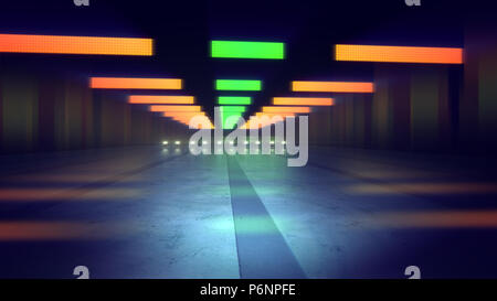 A stunning 3d illustration of green and orange illumination of a subway tube in the dark blue background. The horizontal lines and spots sparkle in a  - Stock Photo