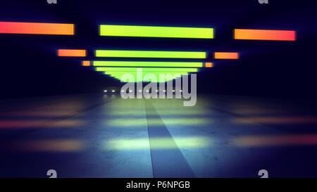 An exciting 3d illustration of orange and yellow neon lamps of an underground subway in the blue and grey background. The horizontal stripes and spots - Stock Photo