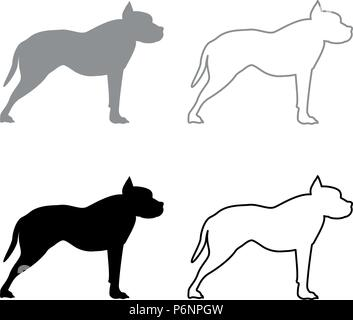 Pit bull terrier icon set grey black color I flat style simple image - Stock Photo