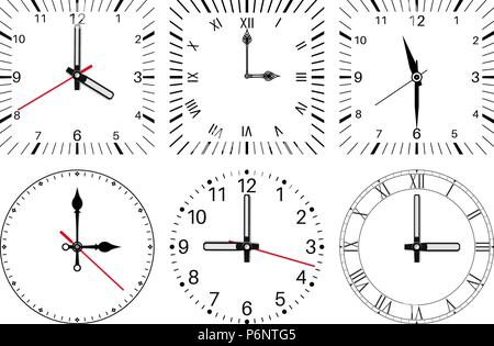 Clock face. Round and square set - Stock Photo
