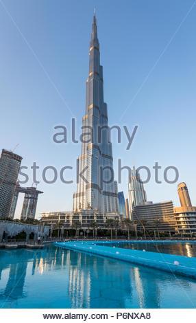 A view of Burj Khalifa at Downtown Dubai - Stock Photo