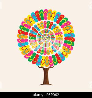 Tree made of colorful summer footwear for fun beach holiday concept. Vibrant color flip flop decoration, summertime vacation illustration. EPS10 vecto - Stock Photo