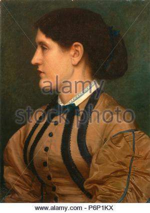 Eliza Eastlake Signed and dated, green paint, center right: 'EJP|1864' (monogrammed), Edward John Poynter, 1836-1919, British. - Stock Photo