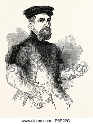 Portrait Sir Thomas Gresham, English merchant and financier, London, England, engraving 19th century, Britain, UK. - Stock Photo