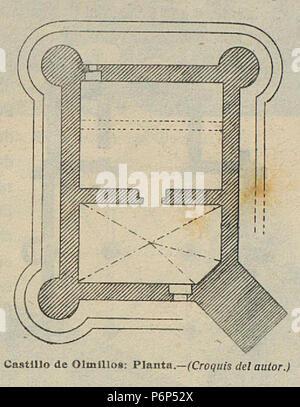 1920-06, Boletín de la Sociedad Española de Excursiones, Castillo de Olmillos, planta, Vicente Lampérez. - Stock Photo