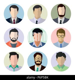 Male avatar human faces, Set of people icons in flat style with faces on circle background.  Vector men character- Flat vector design Illustration. - Stock Photo