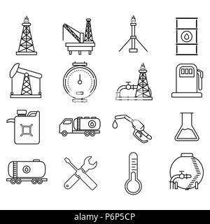 Oil petroleum And Energy Resources Icons set. Flat thin line icons modern design style isolated on white background - Vector Iconic design. - Stock Photo
