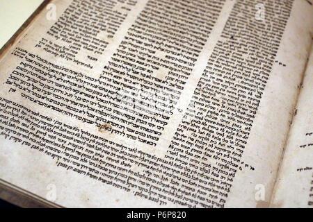 Jewish Museum of Switzerland. Basel.  Old Talmud (1578-1560). - Stock Photo