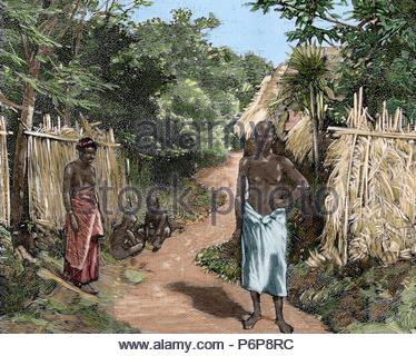 French imperialism. Africa. Dahomey. A street of Porto-Novo. Official residence of the French governor. Engraving in The Spanish and American Illustration, 1890. Colored. - Stock Photo