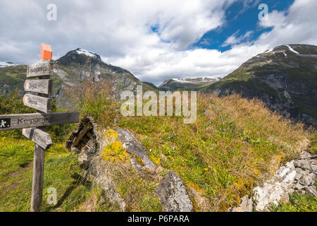 ancient alp huts of Homlongsetra, Norway, alpine huts of former mountain farmers - Stock Photo