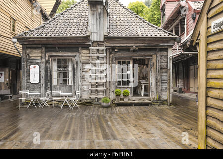 Old Hanseatic buildings of Bryggen in Bergen, Norway, inner view, Bellsgarden or Bellgarden - Stock Photo