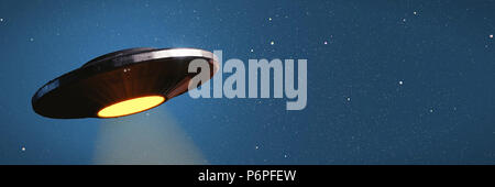 UFO, alien spaceship with light beam in night sky, flying saucer with blue star background (3d illustration banner) - Stock Photo