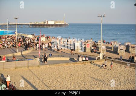 Brighton Seafront on a summers evening - Stock Photo