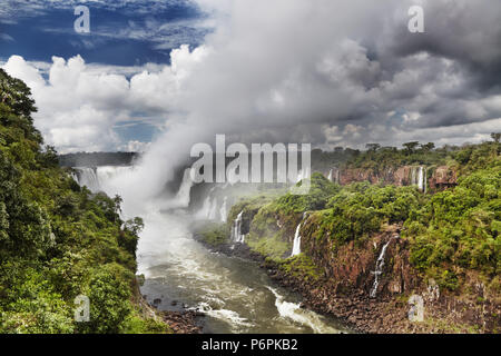 Iguassu Falls, the largest series of waterfalls of the world, located at the Brazilian and Argentinian border, View from Brazilian side - Stock Photo