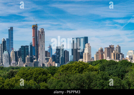 New York City Skyline with Central Park in the foreground, NYC, USA - Stock Photo