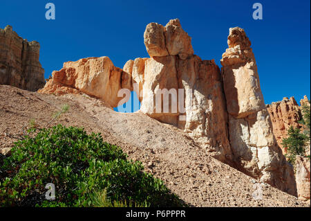 Spectacular eroded sansdstone formation againts a deep blue sky in Bryce Canyon National Park, Utah, USA. - Stock Photo