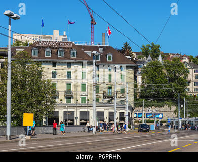Zurich, Switzerland - June 30, 2018: view from Bahnhofbrucke bridge towards Central square. Zurich is the largest city in Switzerland and the capital  - Stock Photo