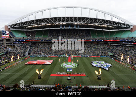 Seattle, Washington, USA. 30th June, 2018. Pregame activities at Century Link Field in Seattle as the Portland Timbers play the Seattle Sounders in a Western Conference match in Seattle, WA. Credit: Jeff Halstead/ZUMA Wire/Alamy Live News - Stock Photo