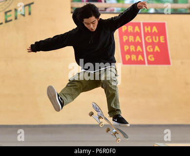 Prague, Czech Republic. 01st July, 2018. Daisuke Ikeda (Japan) competes in the Mystic Sk8 Cup 2018 within World Cup Skateboarding (WCS) in Prague, Czech Republic, on July 1, 2018. Credit: Roman Vondrous/CTK Photo/Alamy Live News - Stock Photo
