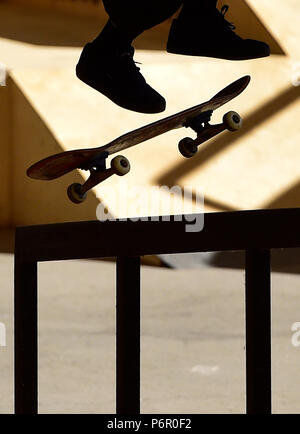 Prague, Czech Republic. 01st July, 2018. A skateboarder competes in the Mystic Sk8 Cup 2018 within World Cup Skateboarding (WCS) in Prague, Czech Republic, on July 1, 2018. Credit: Roman Vondrous/CTK Photo/Alamy Live News - Stock Photo