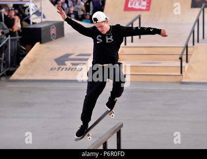 Prague, Czech Republic. 01st July, 2018. Jake Ilardi (USA) competes in the Mystic Sk8 Cup 2018 within World Cup Skateboarding (WCS) in Prague, Czech Republic, on July 1, 2018. Credit: Roman Vondrous/CTK Photo/Alamy Live News - Stock Photo