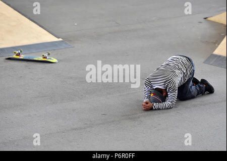 Prague, Czech Republic. 01st July, 2018. Angelo Caro (Peru) is seen during the Mystic Sk8 Cup 2018 compete within World Cup Skateboarding (WCS) in Prague, Czech Republic, on July 1, 2018. Credit: Roman Vondrous/CTK Photo/Alamy Live News - Stock Photo