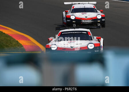 Watkins Glen, New York, USA. July 1, 2018: The #912 Porsche GT Team, PORSCHE 911 RSR driven by Laurens Vanthoor, of Belgium and Earl Bamber, of New Zealand during the IMSA WeatherTech SportsCar Championship Sahlen's Six Hours of The Glen on Sunday July 1, 2018 at Watkins Glen International in Watkins Glen, New York. Rich Barnes/CSM - Stock Photo