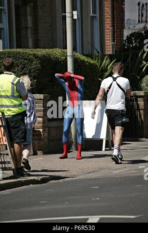 Bishops Stortford, UK. 2nd July 2018. Location Shooting of the New Spider-man film: Far From Home, on location in Bishops Stortford Credit: Knelstrom Ltd/Alamy Live News - Stock Photo