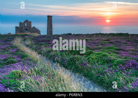Wheal Coates, Cornwall. 2nd July, 2018. UK Weather - After another warm and humid  day the high cloud breaks to give a spectacular  sunset over the heather and gorse at Wheal Coates, deep in the heart of the 'Poldark' county of North Cornwall. Credit: Terry Mathews/Alamy Live News - Stock Photo