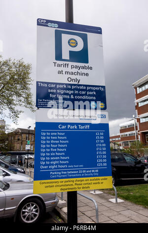St George's University Hospital Car Park Tariff, Tooting, London, UK - Stock Photo