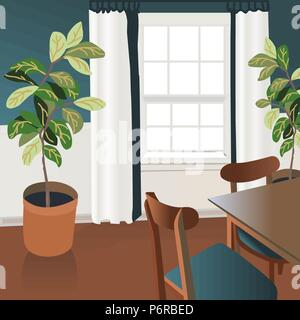 Interior design illustration sketch. Modern living room trendy style. Home house decoration. Furniture lounge hand drawn. Table chair window blinds cu - Stock Photo