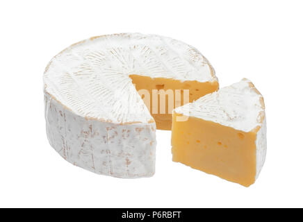 Camembert cheese isolated on white background with clipping path - Stock Photo