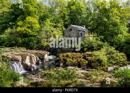 Cenarth Waterfalls & Mill Carmarthenshire Wales - Stock Photo