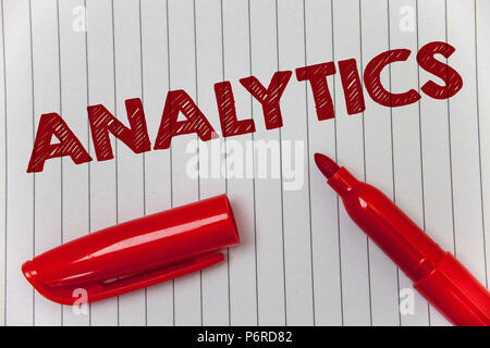 Text sign showing Analytics. Conceptual photo Data Analysis Financial Information Statistics Report Dashboard Ideas message notebook paper open marker - Stock Photo