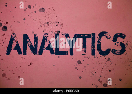 Handwriting text Analytics. Concept meaning Data Analysis Financial Information Statistics Report Dashboard Ideas messages pink background splatters m - Stock Photo