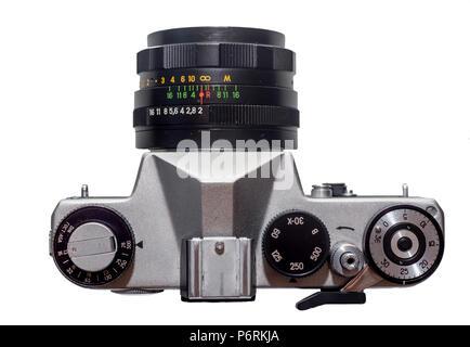 Russia, Vladivostok, 11/06/2017. Film camera Zenit-TTL (M42 mount) with lens Helios-44M 58mm f/2. Manufactured by KMZ (Krasnogorsk Mechanical Works, U - Stock Photo
