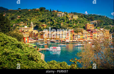 Portofino picturesque ligurian colourful town - Genoa - Italy - Stock Photo