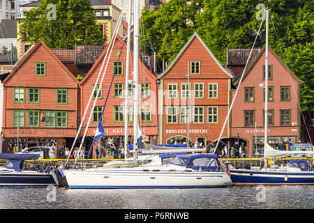 Old Hanseatic buildings of Bryggen in Bergen, Norway, front line - Stock Photo