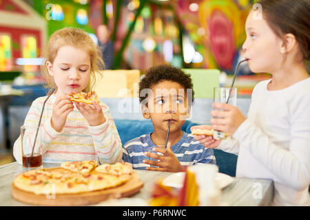Cute Kids in Cafe - Stock Photo