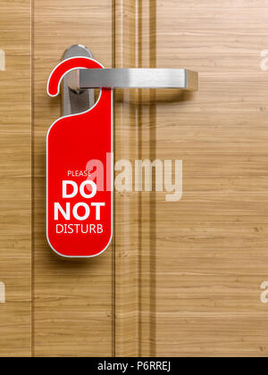 hotel wood door with do not disturb laber 3d rendering image - Stock Photo
