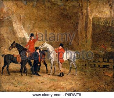 Foxhunting Scene Fox Hunting: Two Gentlemen with a Groom The Englington Brothers Signed and dated, lower left: 'B. Marshall P[?] | 1808', Benjamin Marshall, 1767-1835, British. - Stock Photo