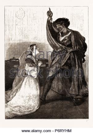 MR. IRVING AND MISS ISABEL BATEMAN IN 'OTHELLO' AT THE LYCEUM THEATRE, LONDON, UK, 1876: Desdemona: Upon my knees, what doth your speech import? I understand a fury in your words, but not the words. Othello: Why, what art thou? Desdemona: Your wife, my lord, your true and loyal wife. - Stock Photo