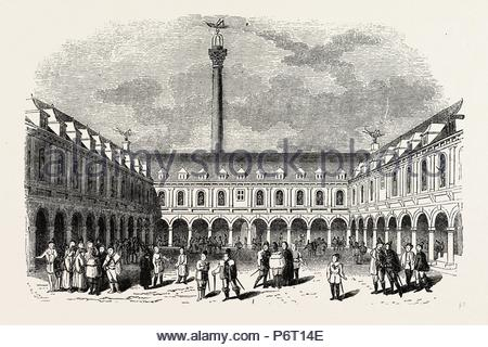 Sir Thomas Gresham's Exchange, London, England, engraving 19th century, Britain, UK. - Stock Photo