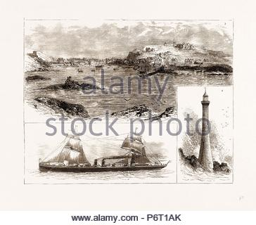 THE WRECK OF THE 'SCHILLER' ON THE SCILLY ISLES, 1875: 3. Hugh Town, St. Mary's. 4. Bishop's Rock and Lighthouse. 5. The 'Schiller'. - Stock Photo